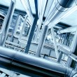 Industrial zone, Steel pipelines in blue tones - Foto de Stock