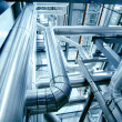 Industrial zone, Steel pipelines in blue tones - ストック写真