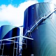 Industrial zone, Steel tanks in blue tones — Stock Photo
