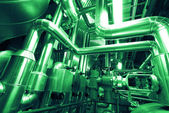 Industrial zone, Steel pipelines, valves and ladders — Stock Photo
