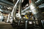Industrial zone, Steel pipelines in insulation — Stock Photo