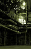 Boilers, ladders and pipes on power plant — Stock Photo