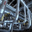 Industrial zone, Steel pipelines, valves and ladders - Stockfoto