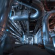Royalty-Free Stock Photo: Pipes, tubes, machinery and steam turbine at a power plant