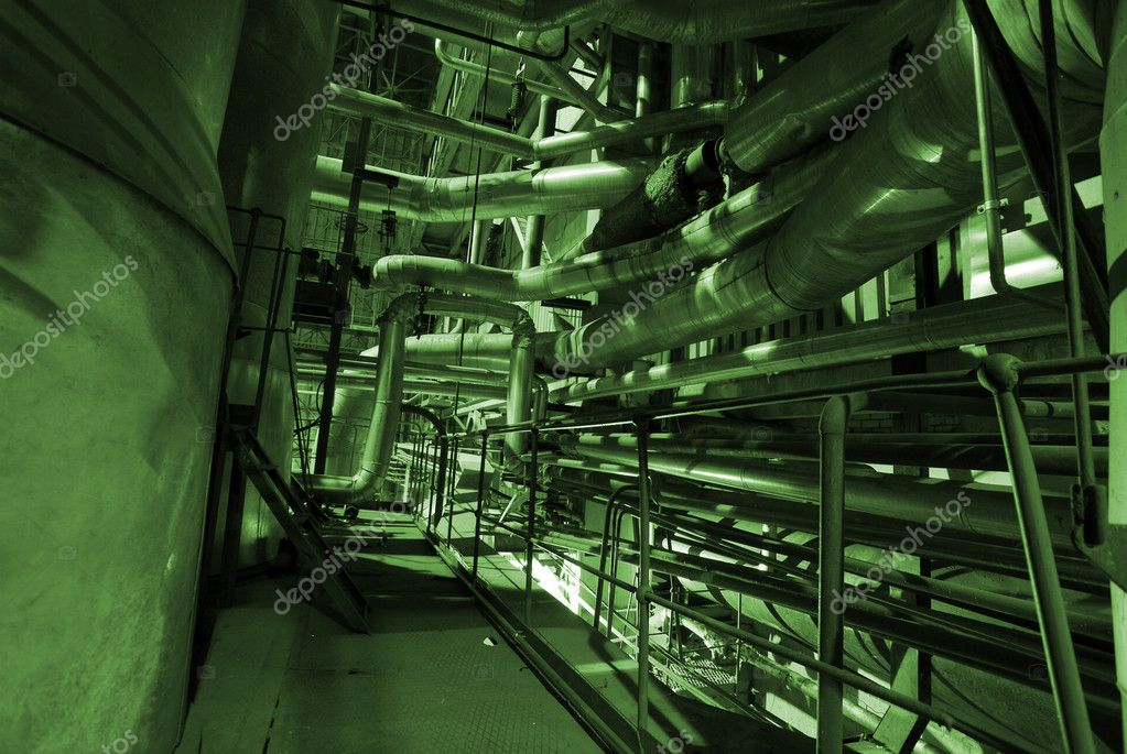 Pipes, tubes, machinery and steam turbine at a power plant                 — Stock Photo #7488315