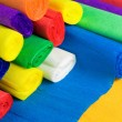 Colored bundles of crepe paper — Stock Photo
