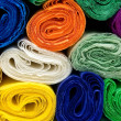 Colorful bundles of crepe papers — Stock Photo