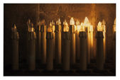 Electric candles in church — Stock Photo