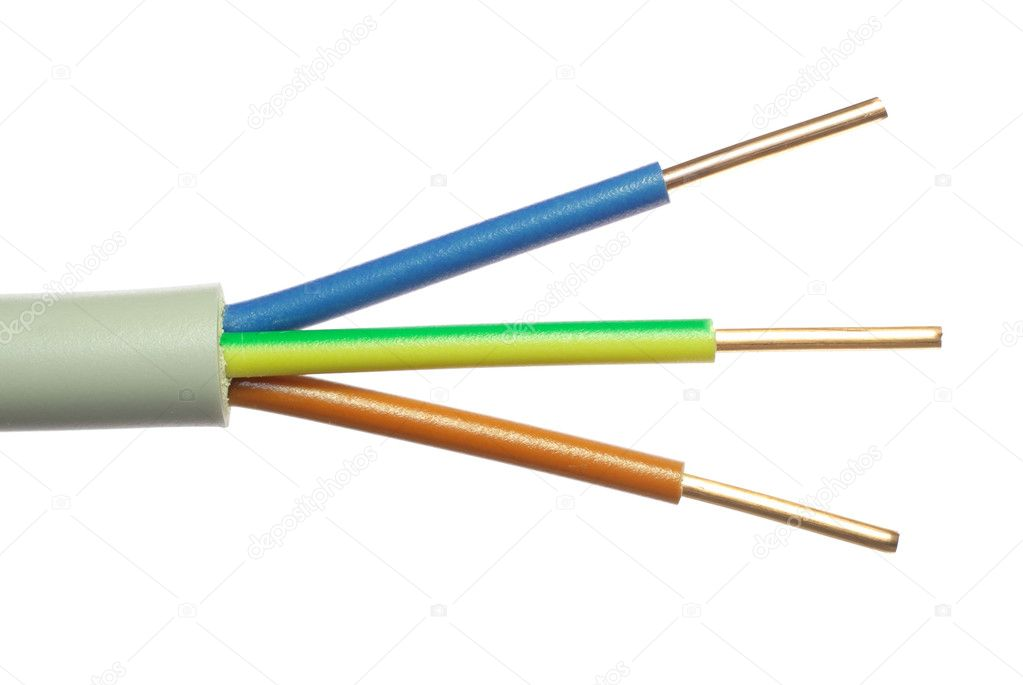 The cleared electric power cable with three lines — Foto Stock #6864469