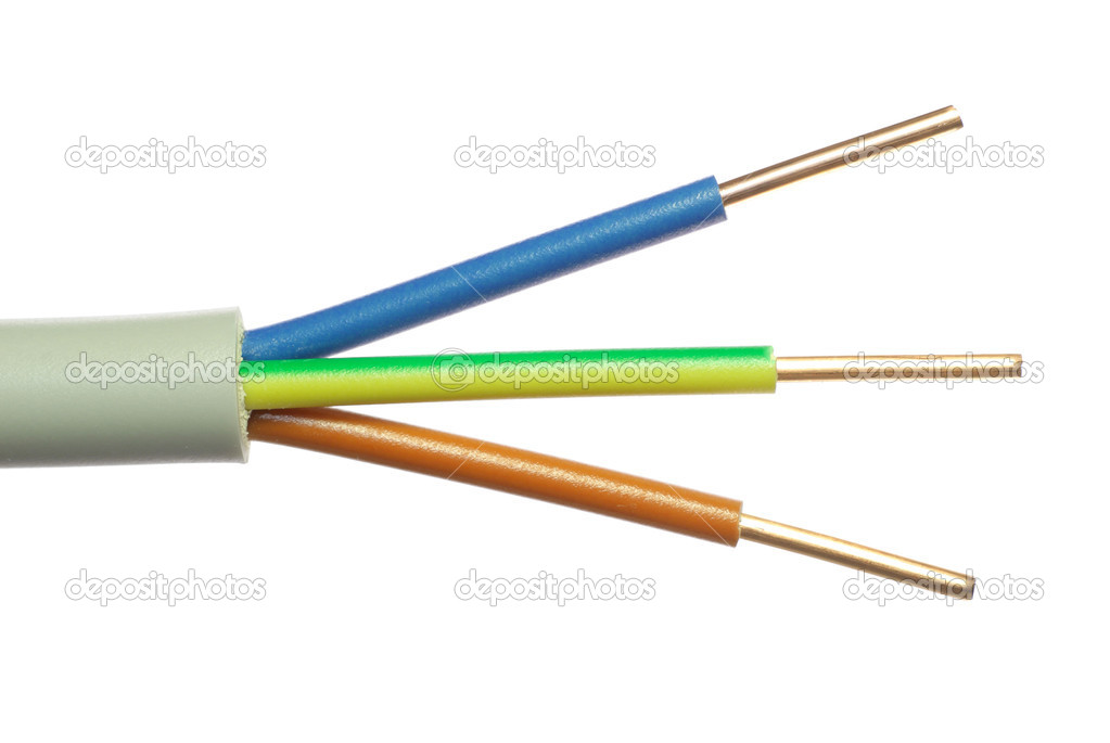 The cleared electric power cable with three lines — 图库照片 #6864469