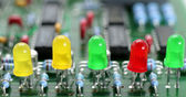 The printed circuit-board with leds — Stock Photo