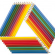Triangular frame made of colored pencils — Stock Photo