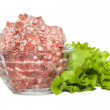 Glass bowl with minced meat and herbs — Stock Photo