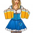 Waitress with beers — Stock Vector #6904708