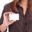 Woman holding empty white card — Stock Photo #6921524