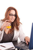 Business woman without break time — Stock Photo