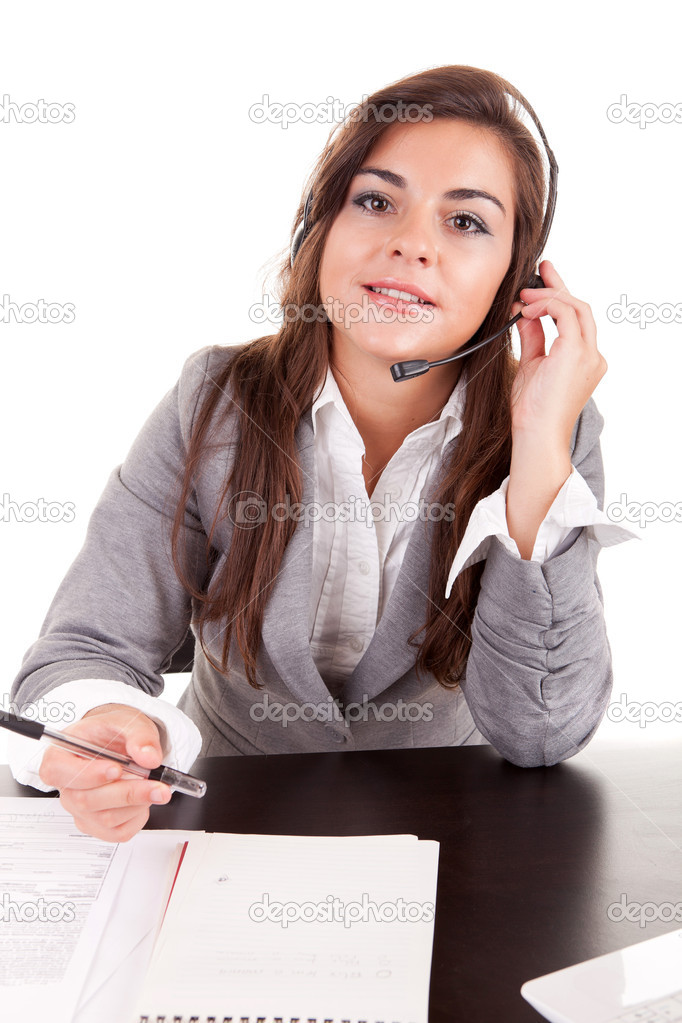 Telephone operador, isolated over a white background  Stock Photo #6921394