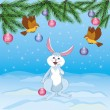Royalty-Free Stock Vector Image: Christmas hare and flying birds with christmas-tree decorations