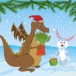 Royalty-Free Stock Vector Image: Christmas dragon and rabbit