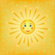 Cartoon smiling sun — Stock Vector