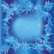 Christmas frame with snowflakes and frosty pattern — 图库矢量图片