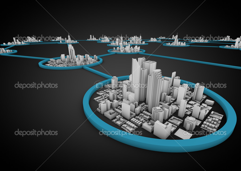 Render of several connected cities in a network — Stock Photo #6870889