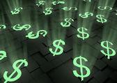 Glowing dollar symbols — Stock Photo