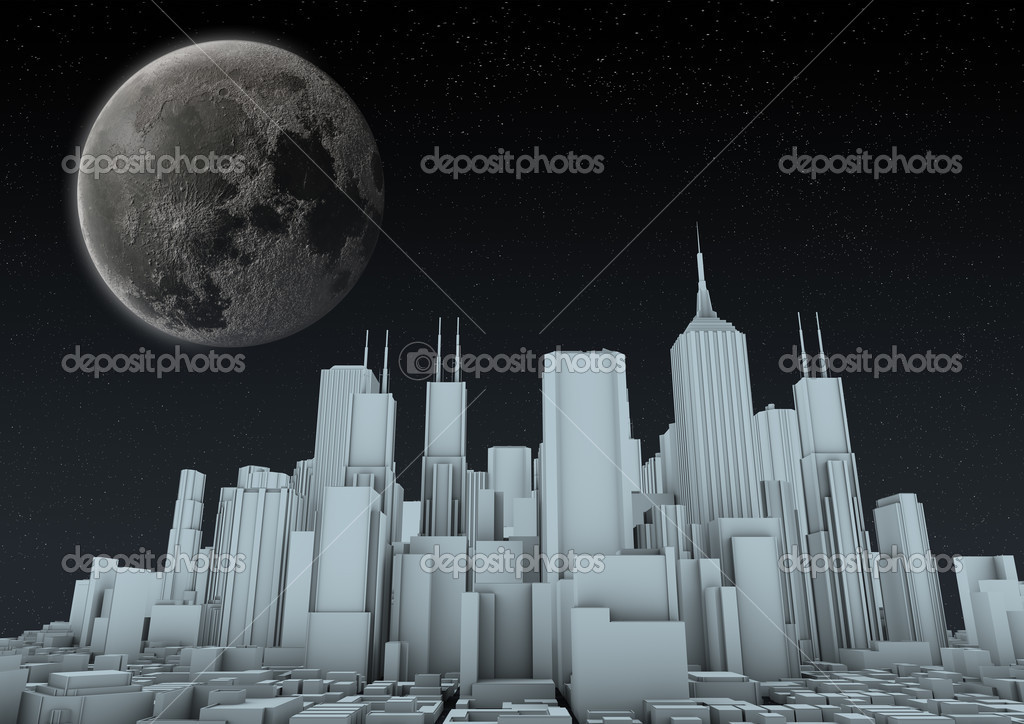 Render of an abstract city at night — Stock Photo #6893361