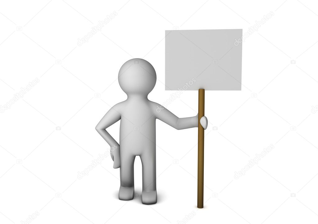 Render of a person holding a blank board.  Stock Photo #6894964