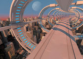 Futuristic city bridge — Stock Photo