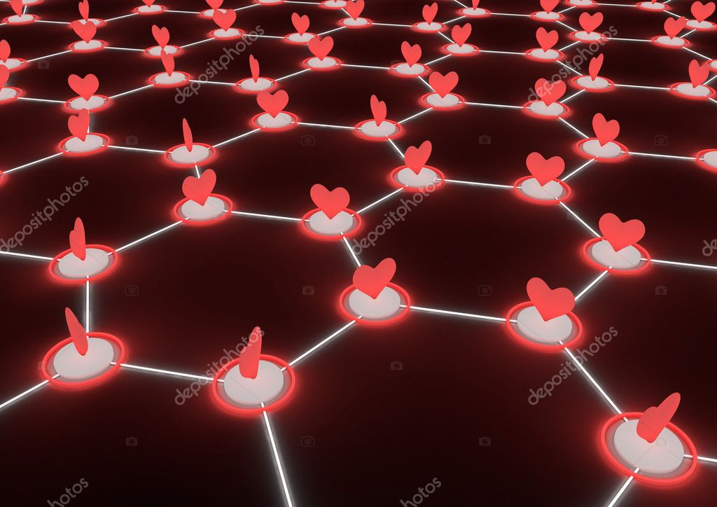 Render of a network of hearts — Stock Photo #6957280