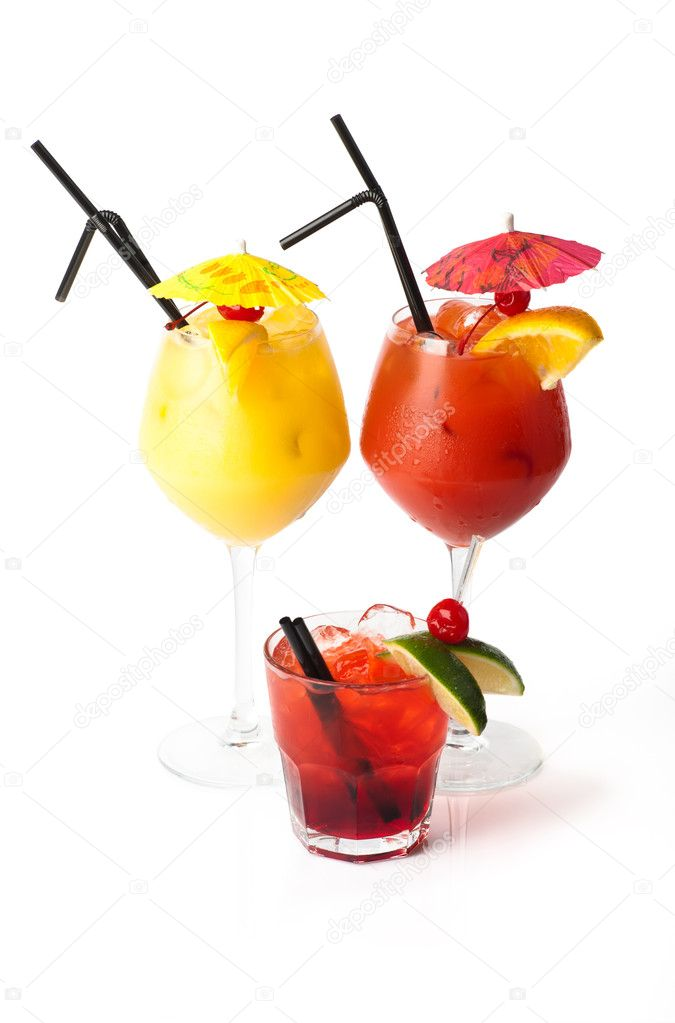 Three coctails isolated on white background — Stock Photo #6951086