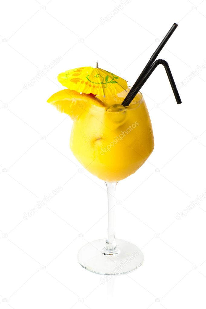 Yellow coctail with decoration isolated on white background — Stock Photo #6951093