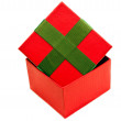 Isolated red green opened present box — Stock Photo