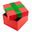 Stock Photo: Isolated red green opened present box