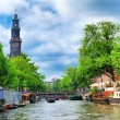 Westercerk  clock tower from the canal — Stock Photo