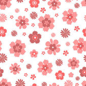 Seamless pattern with coral flowers on white background — Stock Vector
