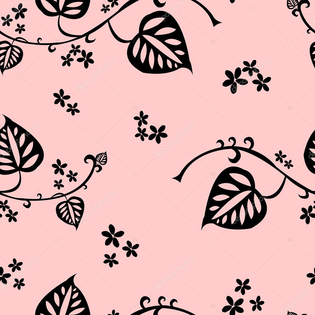 Seamless pattern with floral elements on light-pink background. Vector illustration — Stock Vector #7148883