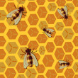 Royalty-Free Stock Vector Image: Seamless pattern with honeycomb and bee