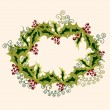 Stock Vector: Cristmas wreath made from holly branches