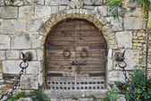 Locked wooden door of a castle — Stock Photo