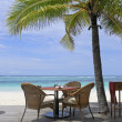 Beach restaurant with view over ocean — Stock Photo #6921929