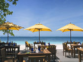 Beach restaurant with view over ocean — Stok fotoğraf