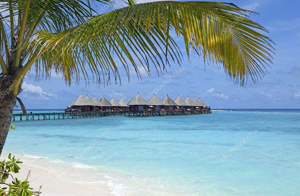 ber wasser bungalows auf den malediven stockfoto. Black Bedroom Furniture Sets. Home Design Ideas