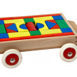 Wooden toy car filled with blocks — Stock Photo #6966900