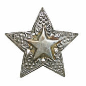 Silver star shaped christmas ornament isolated — Stock Photo