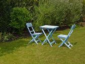 Blue Outdoor garden furniture lounge — Stock Photo