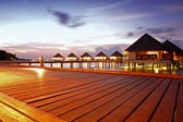 Over water bungalows at night — Stock Photo