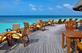 Deck chairs on sea view balcony — Stock Photo