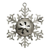 Old silver star shaped christmas ornament — Stok fotoğraf